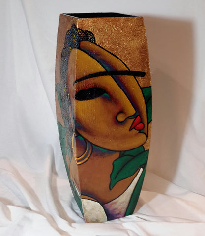 Hand Painted Wooden Vase #9