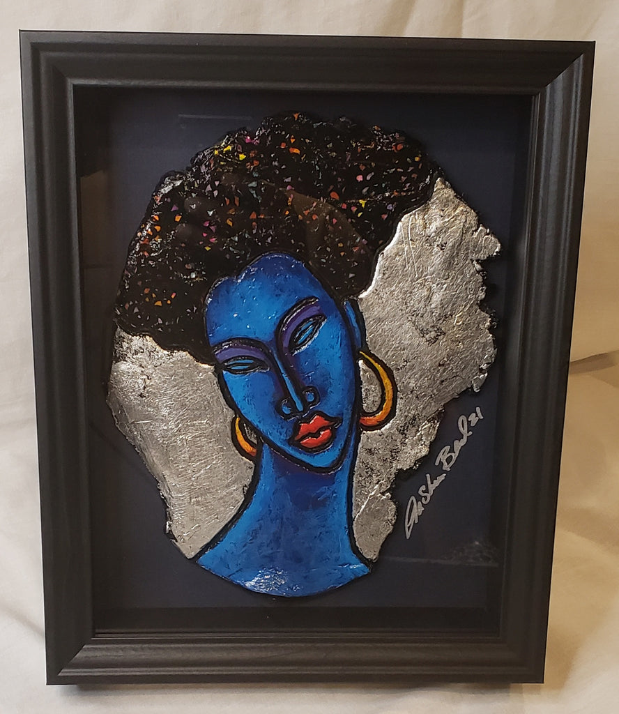 Indigo Blue #9 Clay Art Framed Original