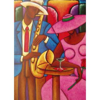 Martini Sax Giclee Art Print On Canvas