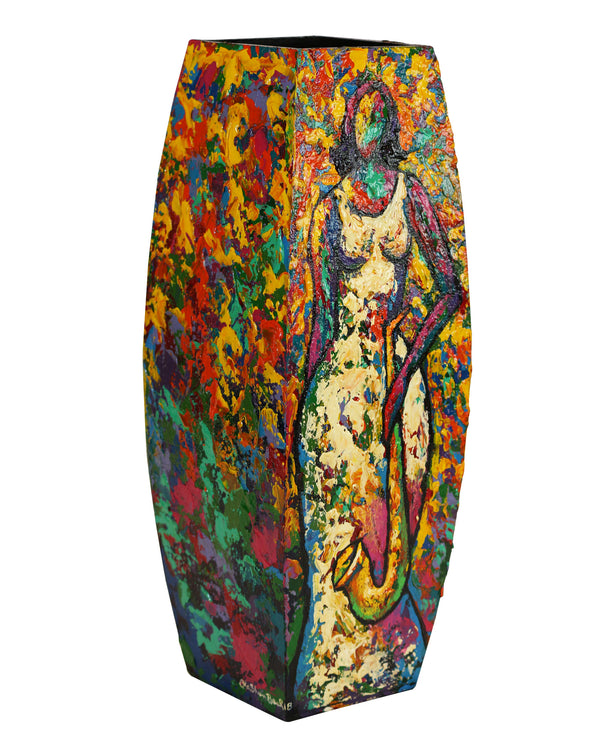 Hand Painted Wooden Vase #3 - LaShunBeal.com