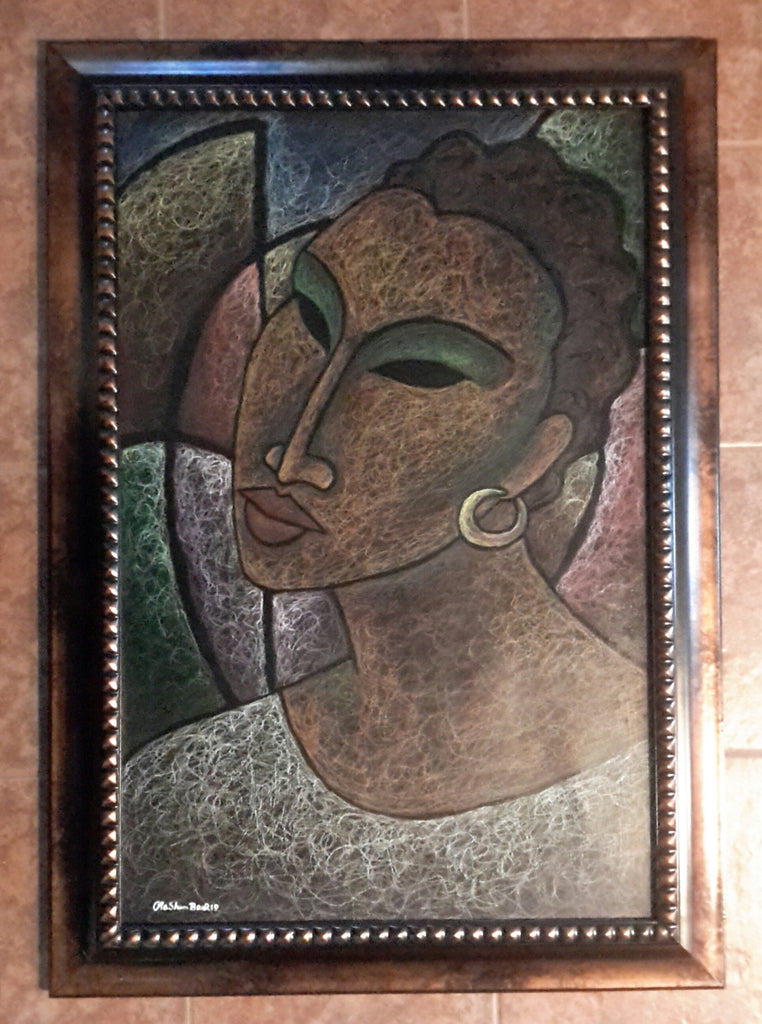 She #171 Original Oil Pastels On Paper Framed