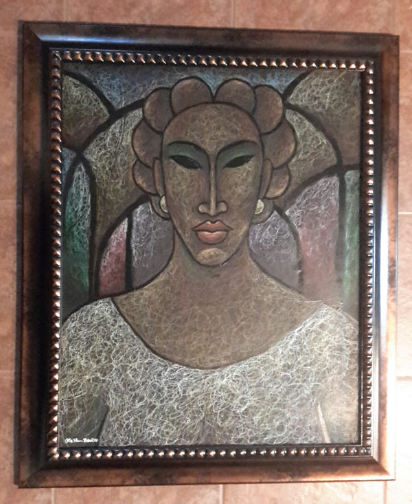 She #174 Original Oil Pastels On Paper Framed