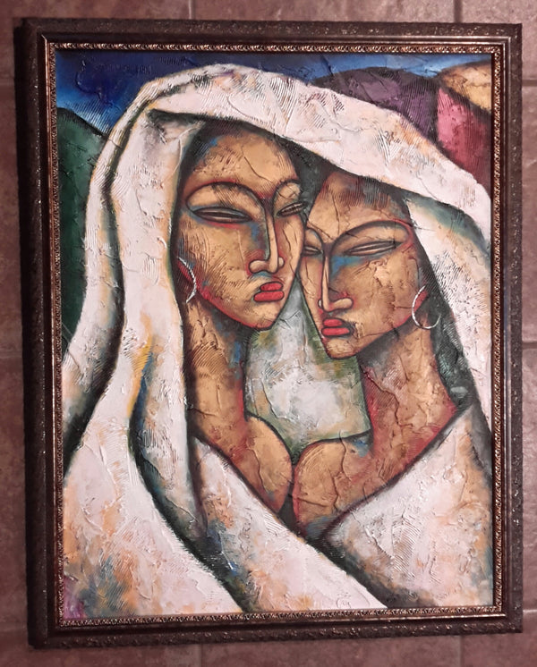 Sisters Acrylic Paint on Canvas Framed
