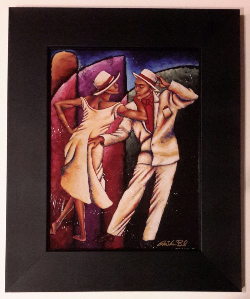 Steppin Out Small Lithograph Art Print Framed