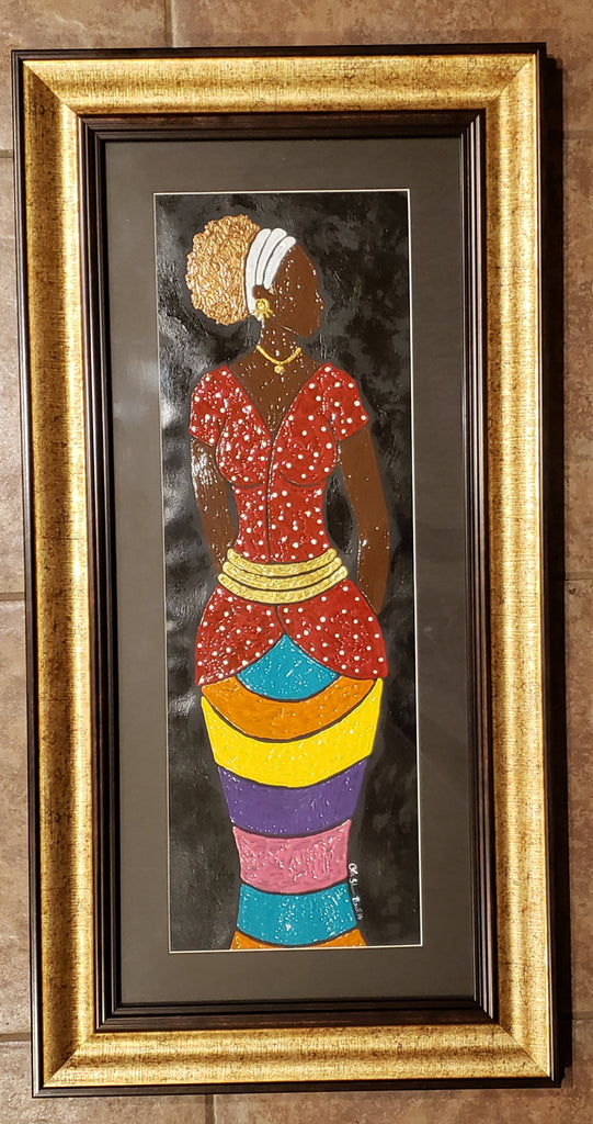 With Class #12 Acrylic Paint On Paper Framed Original