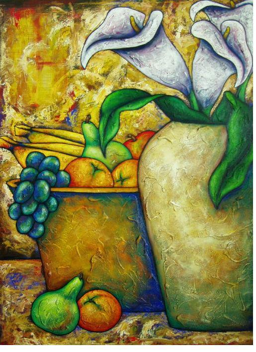 Lillies With Fruit Acrylic Paint On Canvas Art Original