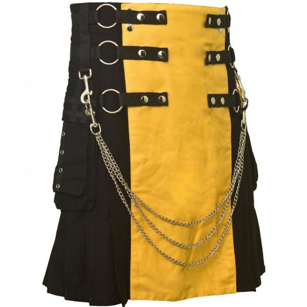 Black & Yellow Chrome Chain Hybrid Utility Cotton Kilt