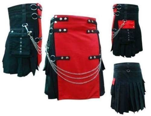 Red & Black Chromed Chain Hybrid Utility Cotton Kilt