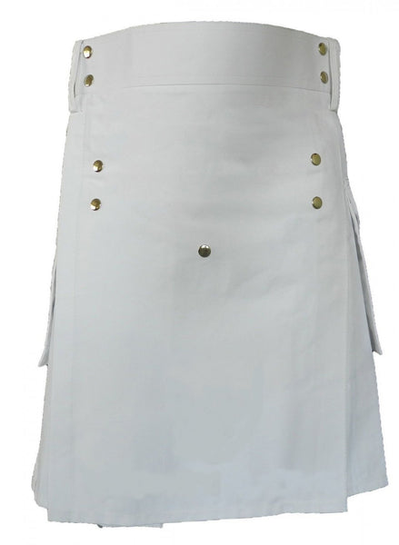Men's White Cotton Front Buttons Utility Kilt