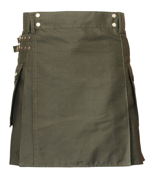 Men's Olive Green Cotton Utility Kilt