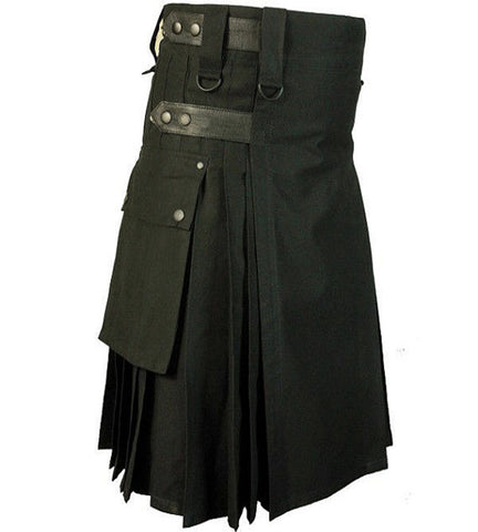 Black Leather Strap Utility Kilt for Active Men