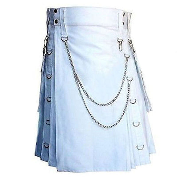 White Detachable Pocket Chrome Chain Cotton Utility Kilt
