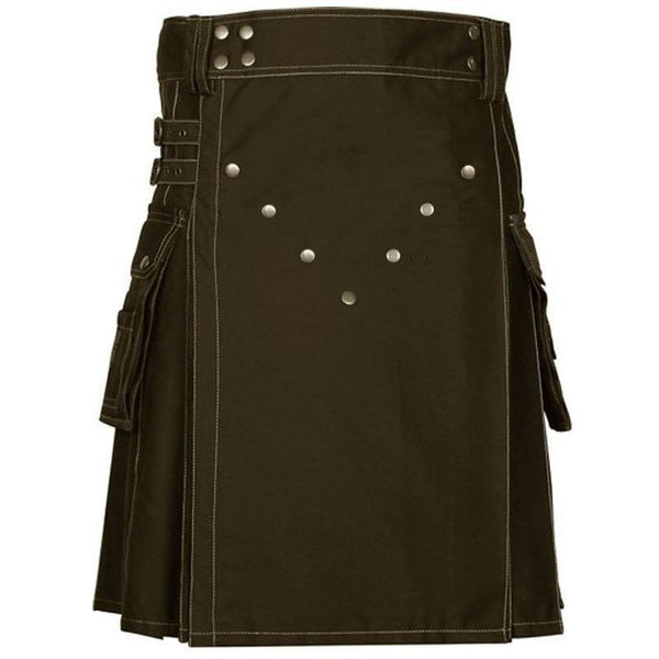 Front Buttons Cargo Pockets Chocolate Brown Cotton Utility Kilt