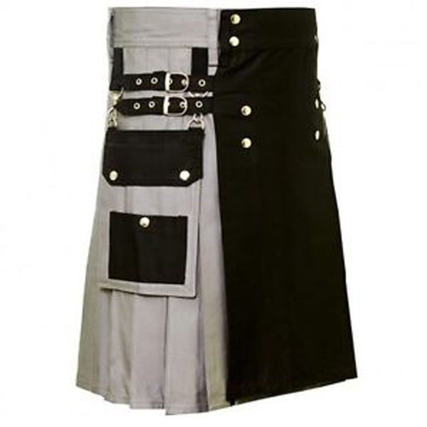 Black & Grey Hybrid Cotton Utility Kilt For Men