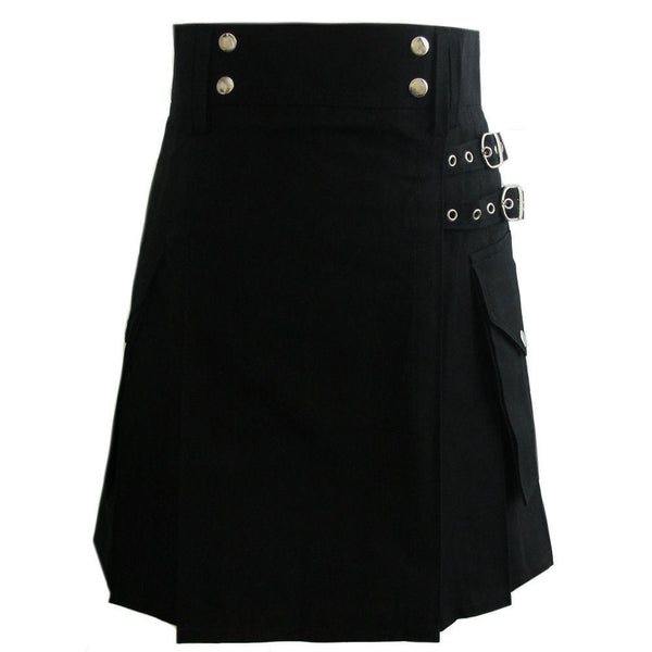 Ladies Black Cotton Utility Kilt