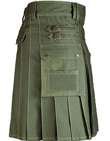 Front Buttons Olive Green Cotton Utility Kilt
