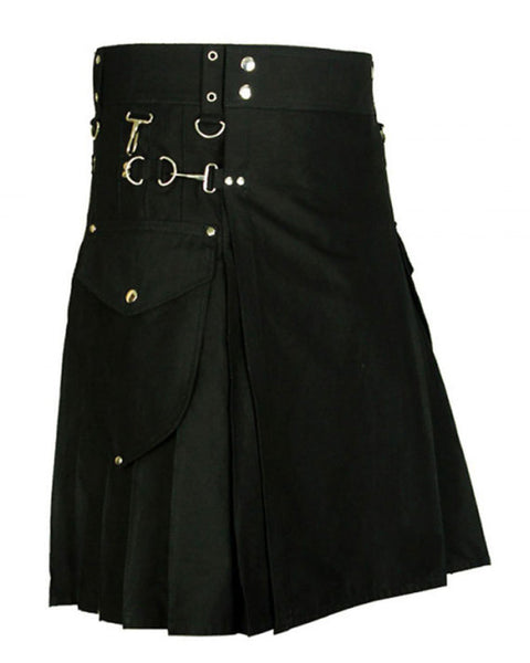 Imperial Black Cotton Utility Kilt For Active Men