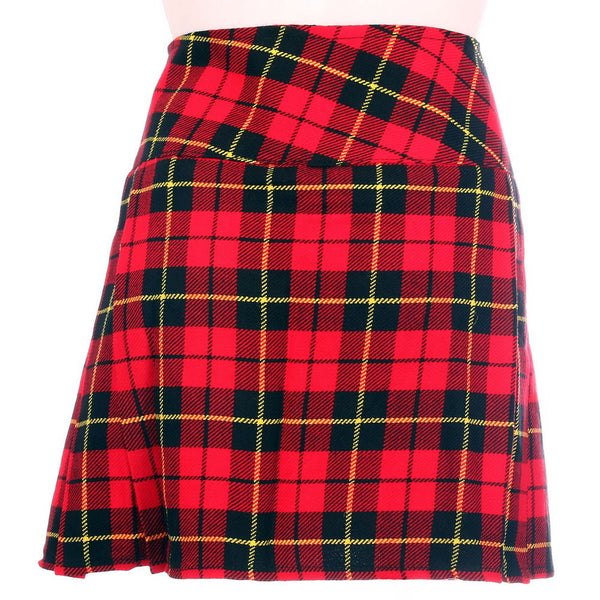 New Ladies Wallace Tartan Scottish Mini Billie Kilt Mod Skirt