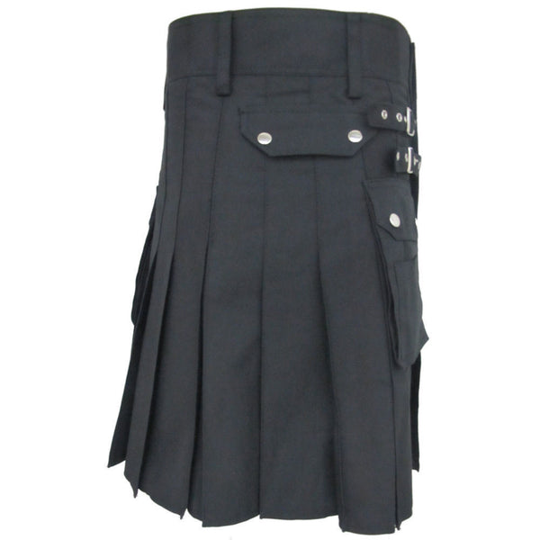 Men's Black Heavy Duty Deluxe Utility Cotton Kilt
