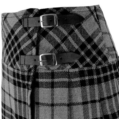 Ladies Grey Watch Tartan Scottish Mini Billie Kilt Mod Skirt