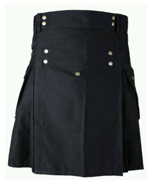 New Men's Black Cotton Front Buttons Utility Kilt