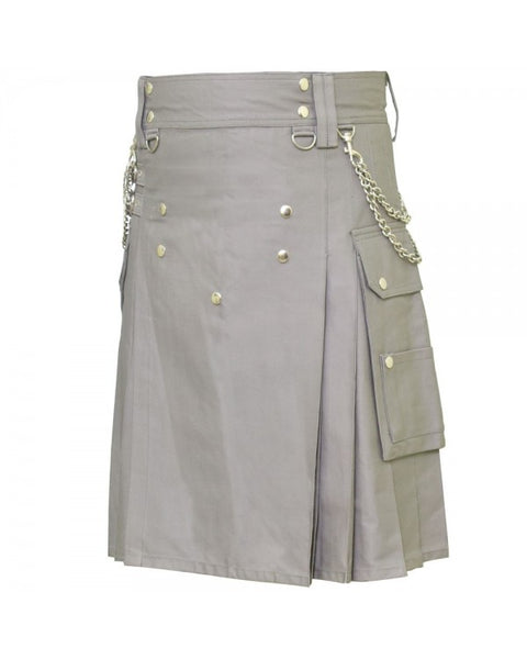 Classic Grey Cargo Pocket Chrome Chain Cotton Utility Kilt