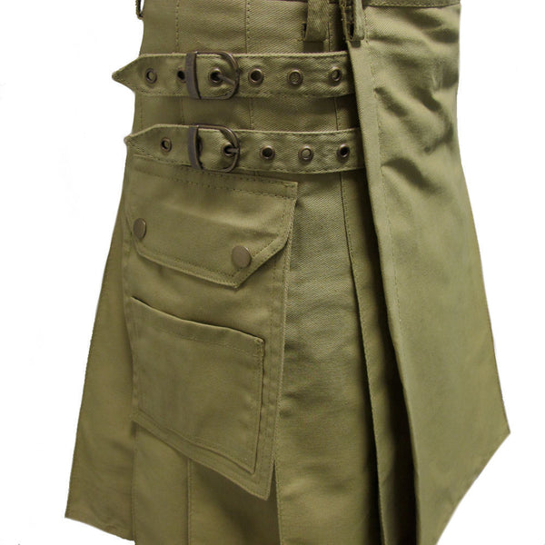 New Men's Khaki Regular Cotton Premium Utility Kilt