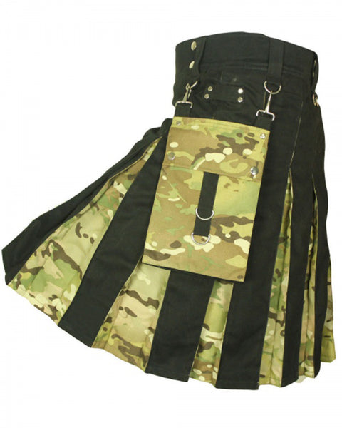 Black Cotton & Digital Camo Detachable Pocket kilt