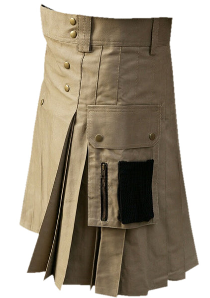 Khaki Cargo Pockets Cotton Utility Kilt