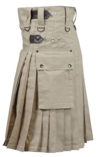 Brown Leather Straps Utility Kilt With Cargo Pockets