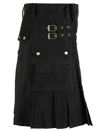 Men's Black Cotton Gothic Utility Kilt