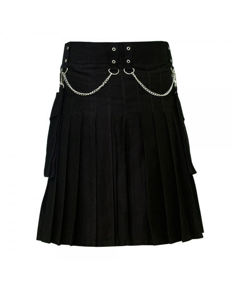 Black Front Button Detachable Pocket Chrome Chain Cotton Kilt