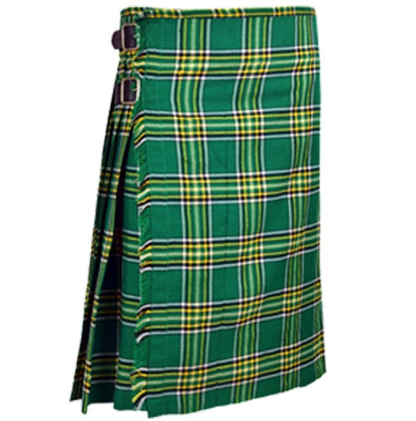 Scottish Highland 8 Yards Ireland Wool Tartan Blended Kilt Saint Patrick's Day