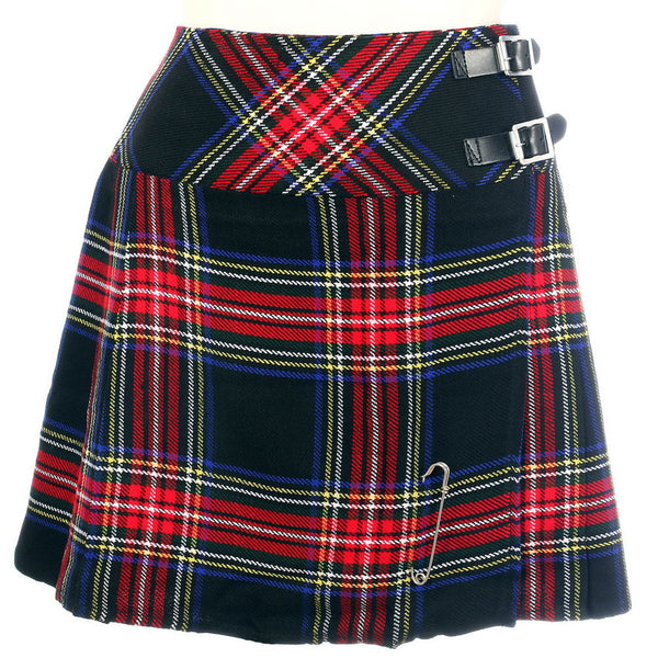 New Ladies Black Stewart Tartan Scottish Mini Billie Kilt Mod Skirt