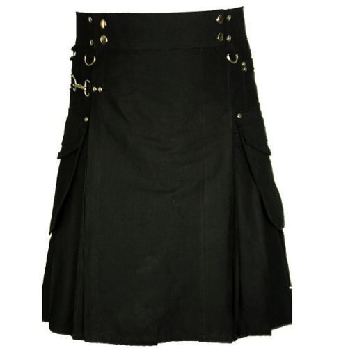 Black Cotton Cargo Pocket Utility Kilt