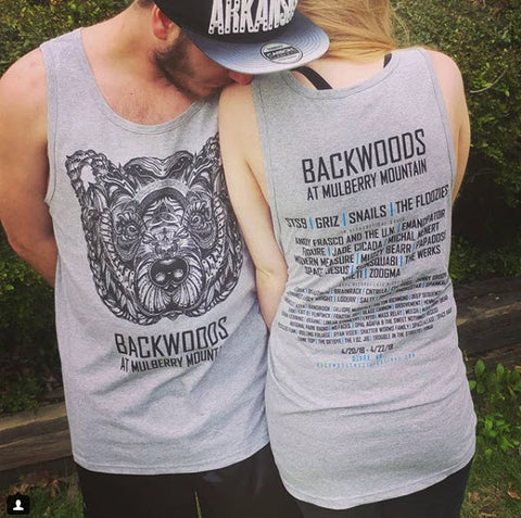 """Runic bear"" Heather Unisex Lineup Tank Backwoods at Mulberry Mountain"