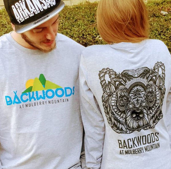 """Runic bear"" Heather Long-Sleeve T-Shirt Backwoods at Mulberry Mountain"