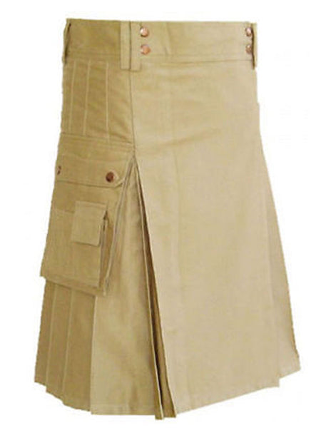 New Men's Khaki Stylish Front Buttons Utility Kilt