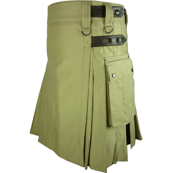 Khaki Leather Strap Utility Kilt for Active Men