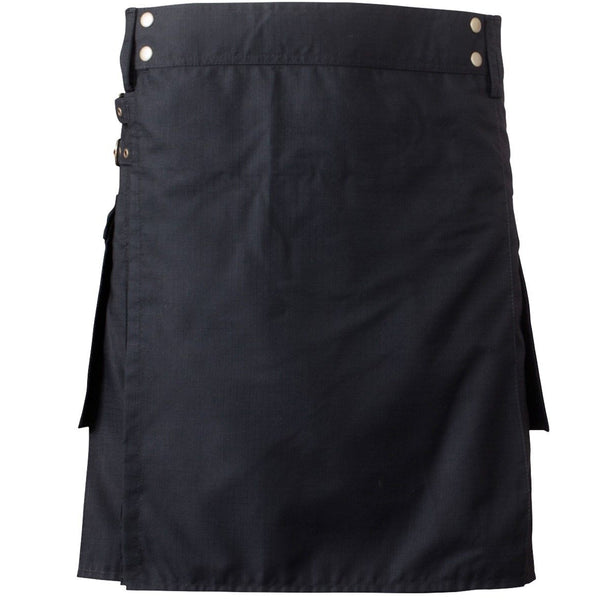 New Men's Black Cotton Regular Kilt