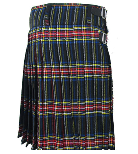 8 Yards Black Stewart Scottish Tartan Kilt