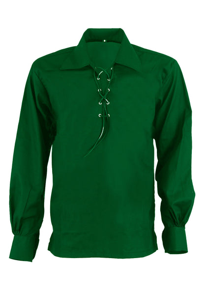 Scottish Highland Green Jacobean Jacobite Ghillie Kilt Shirt