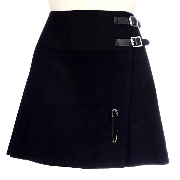 New Ladies Plain Black Tartan Scottish Mini Billie Kilt Mod Skirt