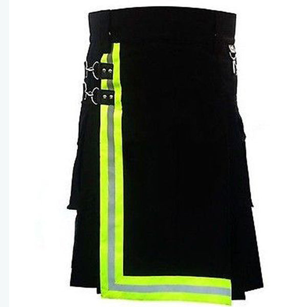 Black Cotton Fireman Reflector Kilt