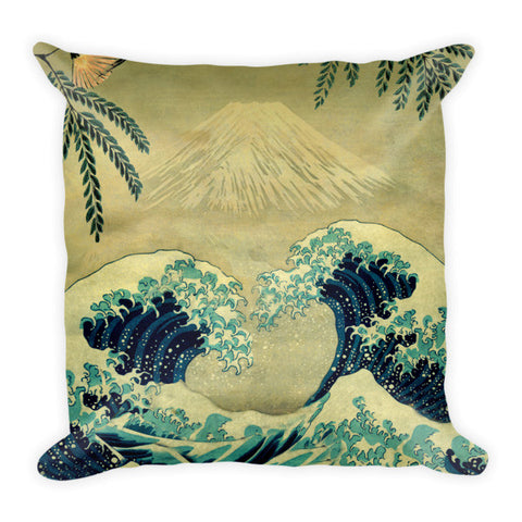 'The Great Blue Embrace at Yama' Pillow by Kijiermono