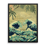 'The Great Blue Embrace at Yama' Framed Poster by Kijiermono