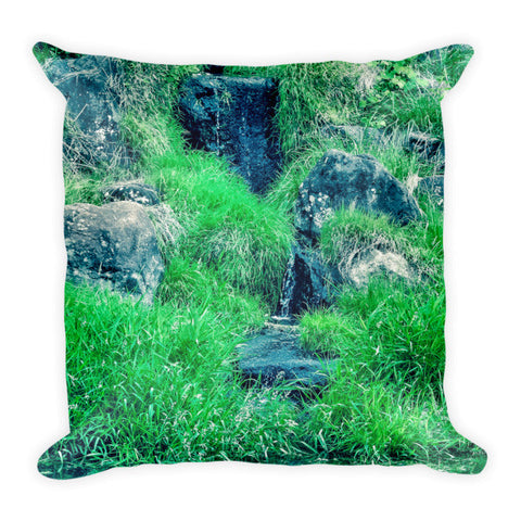 'Green Upon the Rocks' Pillow by Momotaro Photography