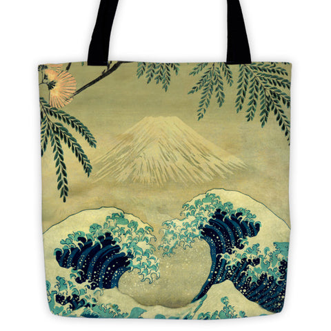 'The Great Blue Embrace at Yama' Tote bag by Kijiermono