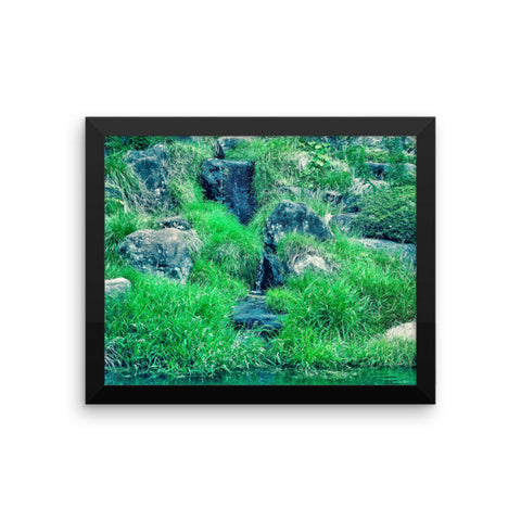 'Green Upon the Rocks' Framed Poster by Momotaro Photography