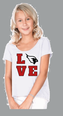 SHORT SLEEVE HI LOW LOVE CARDINAL SHIRT Local Pickups from Brookside Elementary!